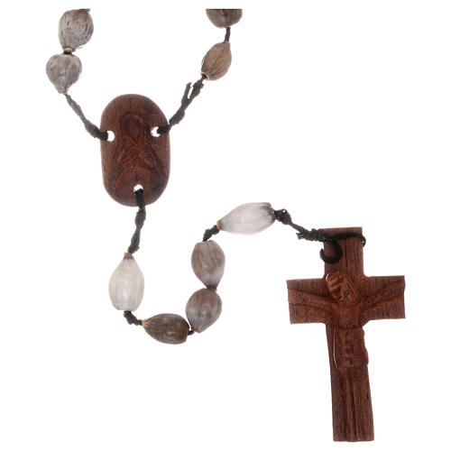 Rosario granos Lágrima de Jobe cruz madera tallada a mano 1