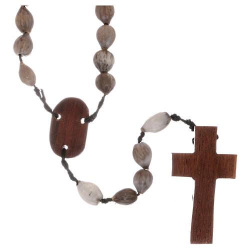 Rosario granos Lágrima de Jobe cruz madera tallada a mano 2