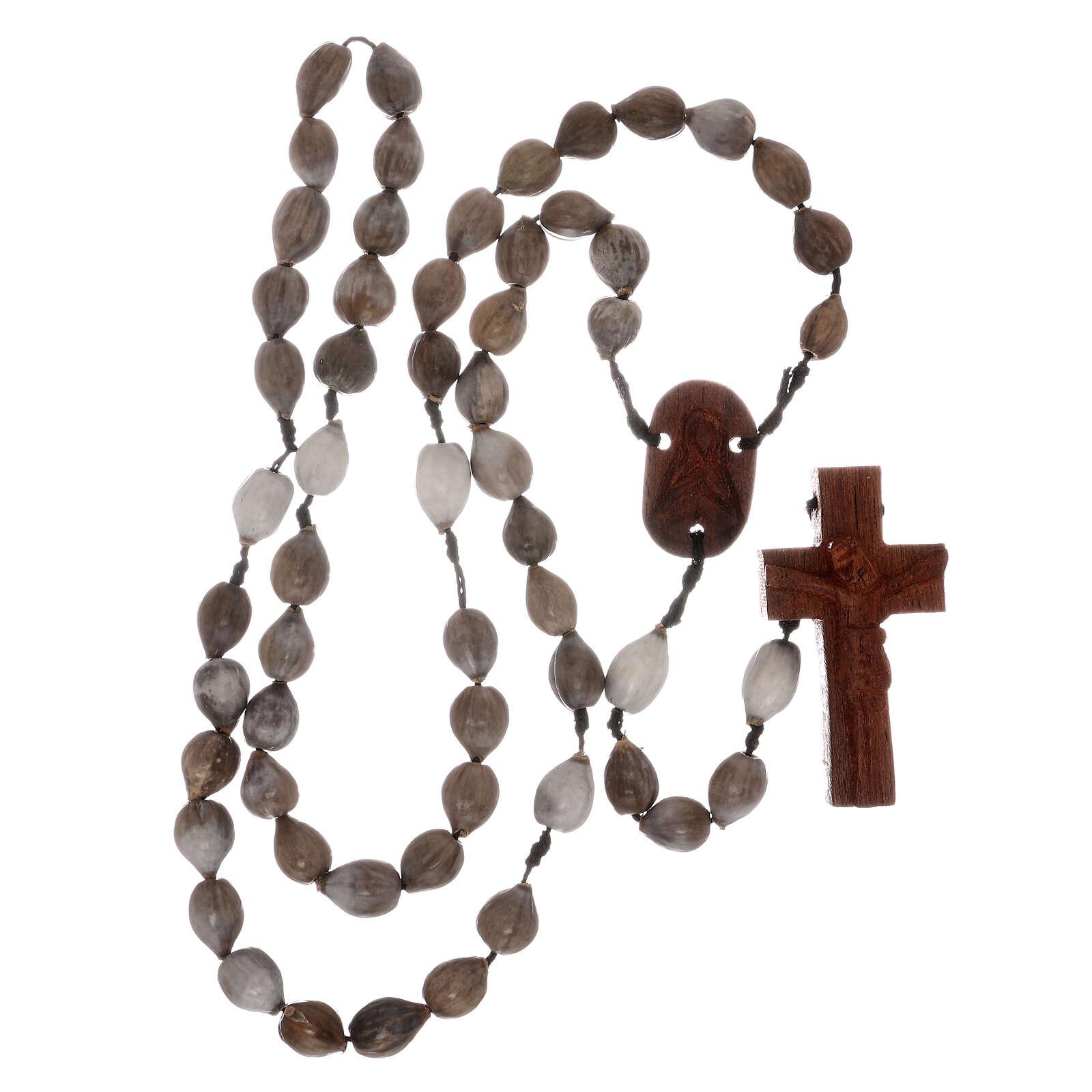 Rosario grani Lacrima di Giobbe croce legno intagliata a mano 4