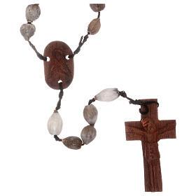 Rosario grani Lacrima di Giobbe croce legno intagliata a mano s1