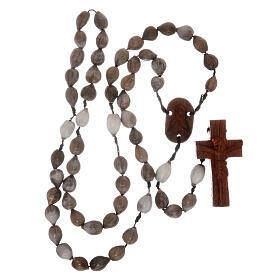 Rosario grani Lacrima di Giobbe croce legno intagliata a mano s4