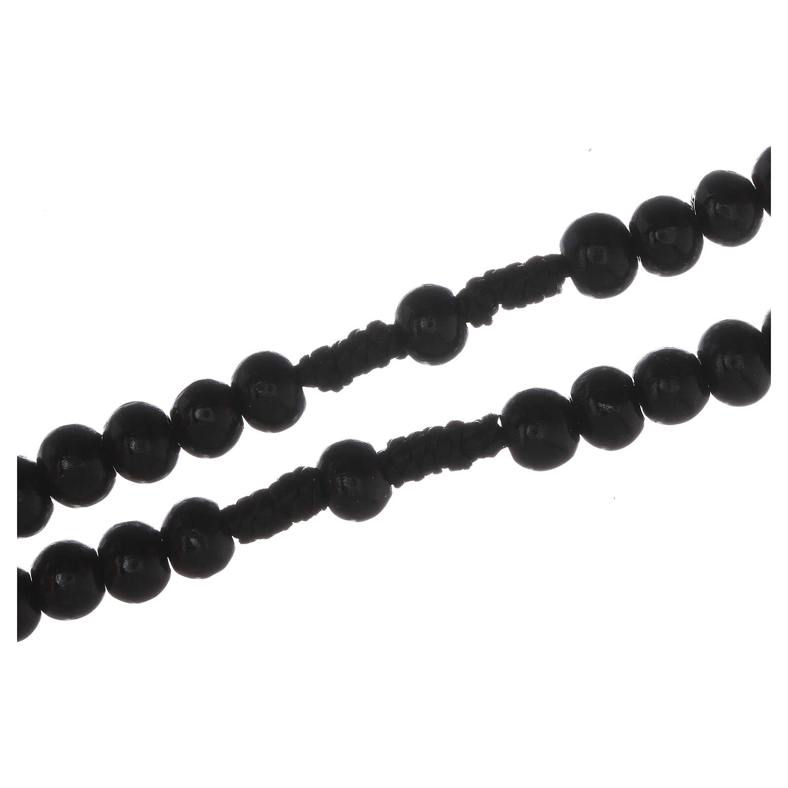 Wooden rosary with silver engraving on a black cross with 7 mm beads 4