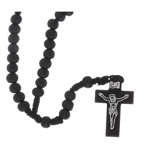 Wooden rosary with silver engraving on a black cross with 7 mm beads 1