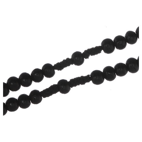 Wooden rosary with silver engraving on a black cross with 7 mm beads 3
