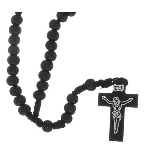 Chapelet gravure argentée sur croix noir 7 mm 1