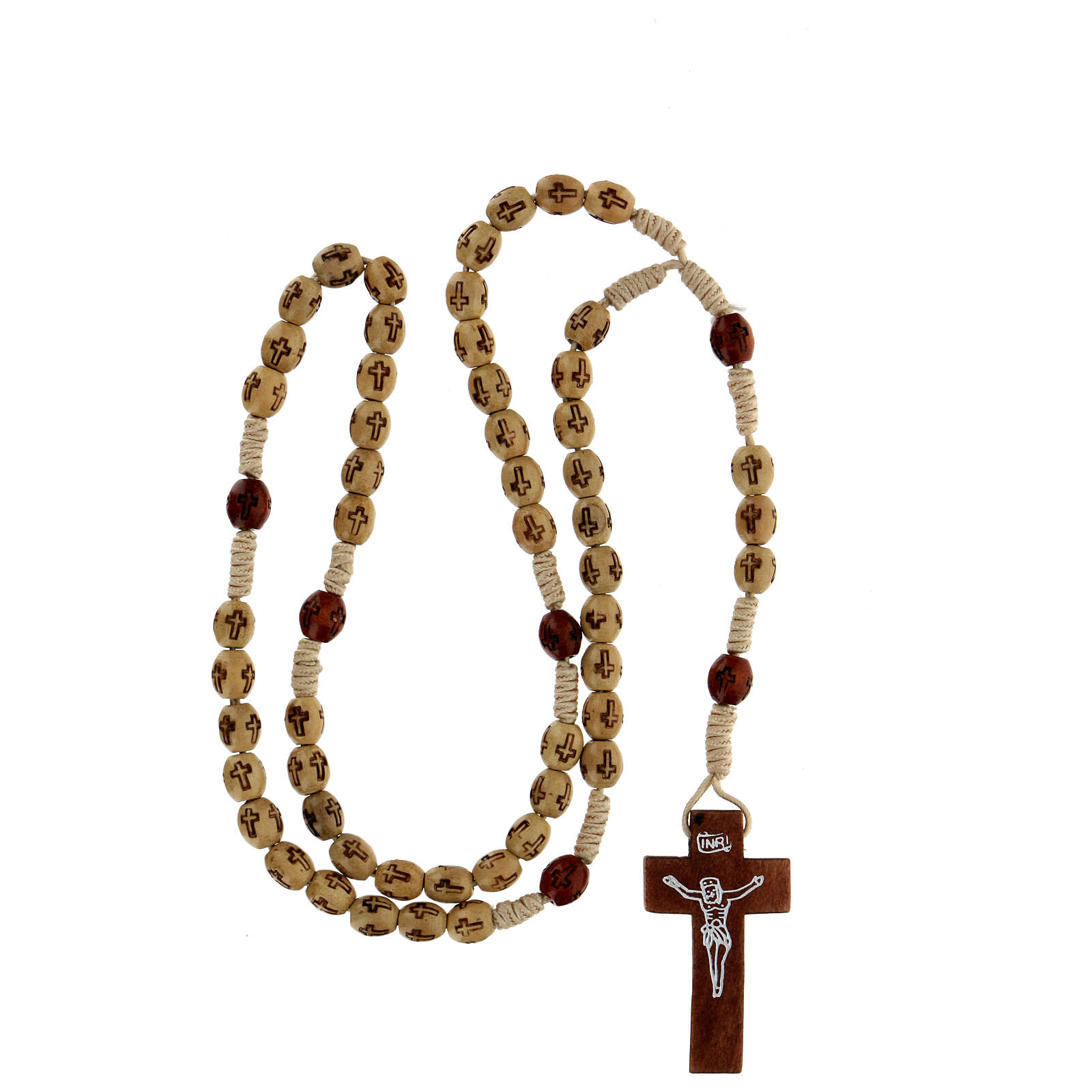 Wooden Rosary with soutage cord beige beads 7x5 mm 4