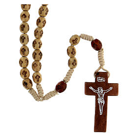 Wooden Rosary with soutage cord beige beads 7x5 mm s1