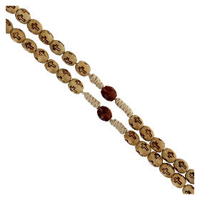 Wooden Rosary with soutage cord beige beads 7x5 mm s3
