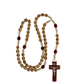 Wooden Rosary with soutage cord beige beads 7x5 mm s4
