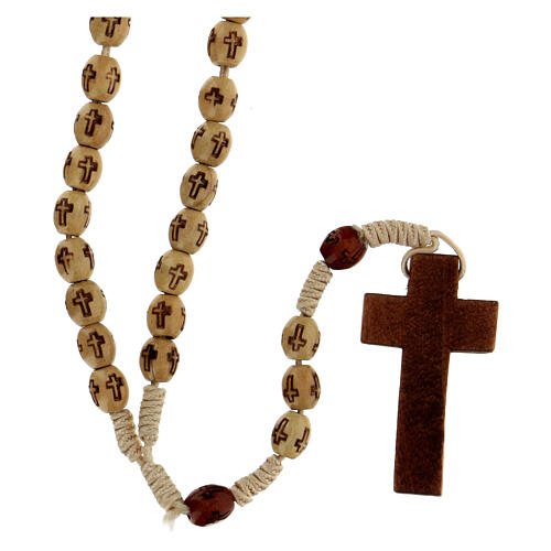 Wooden Rosary with soutage cord beige beads 7x5 mm 2
