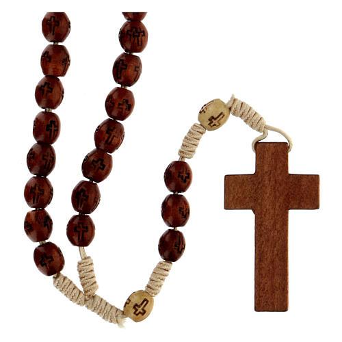 Rosario de cuerda soutache marrón granos ovalados de madera 7x5 mm 2