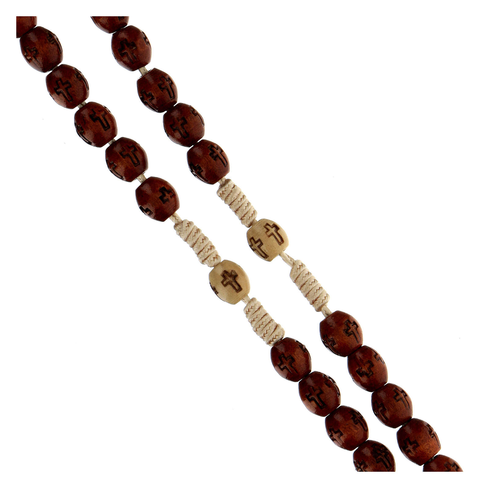 Rosario in corda soutage marrone grani ovali di legno 7x5 mm  4
