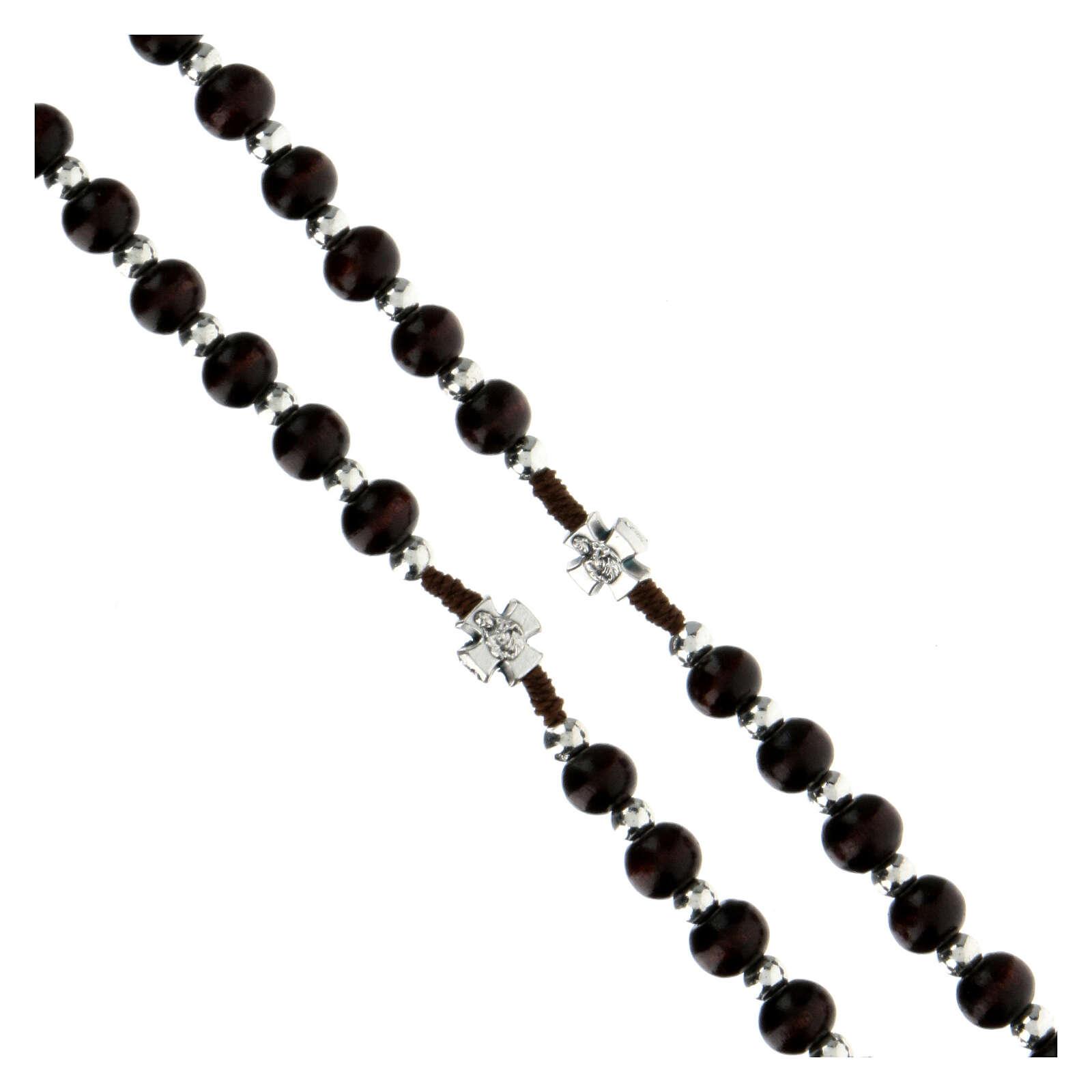 Rosario in corda con grani legno marroni tondo 6x5 mm  4