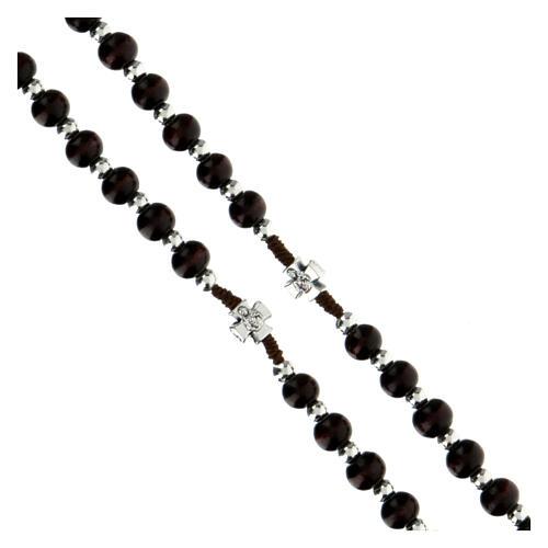 Rosario in corda con grani legno marroni tondo 6x5 mm  3