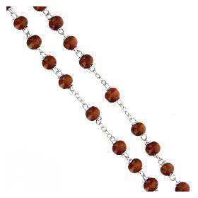 Rosario grani marrone scuro in legno tondo 6 mm e croce in legno  s3