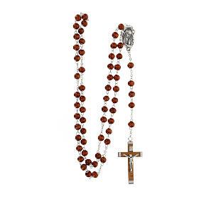 Rosario grani marrone scuro in legno tondo 6 mm e croce in legno  s4