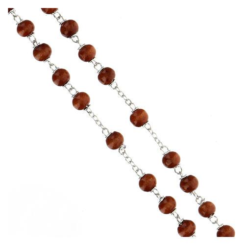 Rosario grani marrone scuro in legno tondo 6 mm e croce in legno  3