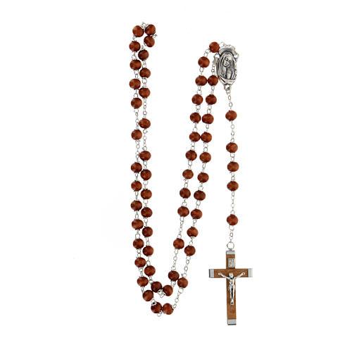 Rosario grani marrone scuro in legno tondo 6 mm e croce in legno  4