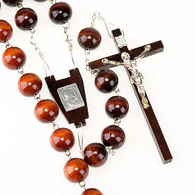 Headboard rosaries: Wall rosary with wood round beads, 20mm