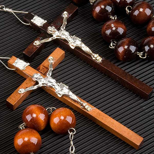 Wall rosary with wood round beads, 20mm 3