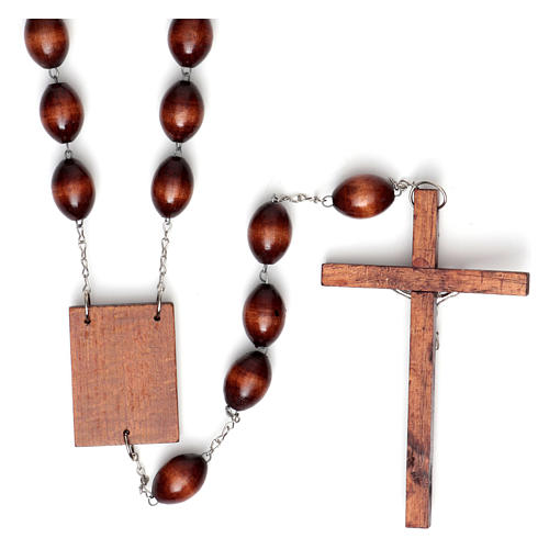 Wall rosary with wood oval beads, 30mm 2