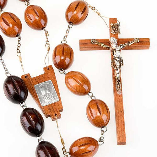 Bedboard rosary with inlayed oval beads 1