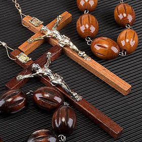 Large wall rosary with inlayed oval beads s3
