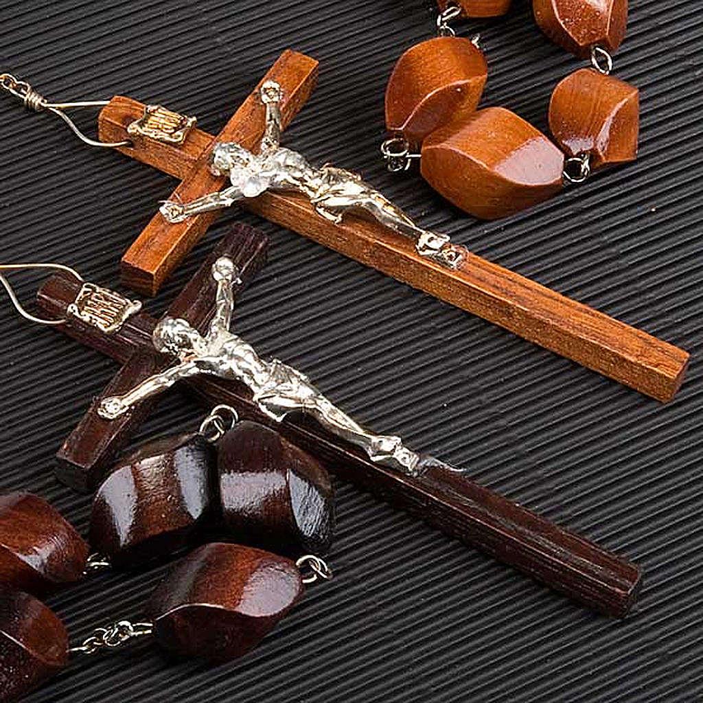 Rosario capoletto legno grano intagliato 30 mm 4