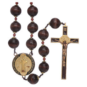 Headboard rosaries: Saint Benedict hanging rosary with wooden grains 20 mm