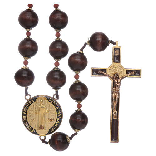 Saint Benedict hanging rosary with wooden grains 20 mm 1