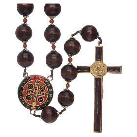 Saint Benedict hanging rosary with wooden grains 20 mm s2