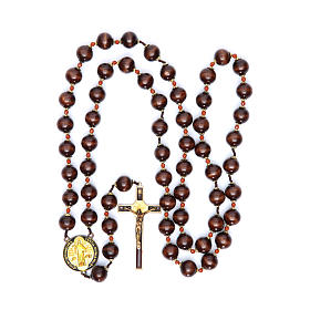 Saint Benedict hanging rosary with wooden grains 20 mm s4