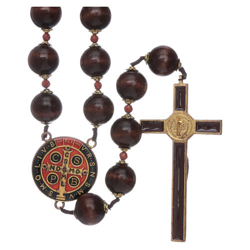 Saint Benedict hanging rosary with wooden grains 20 mm 2