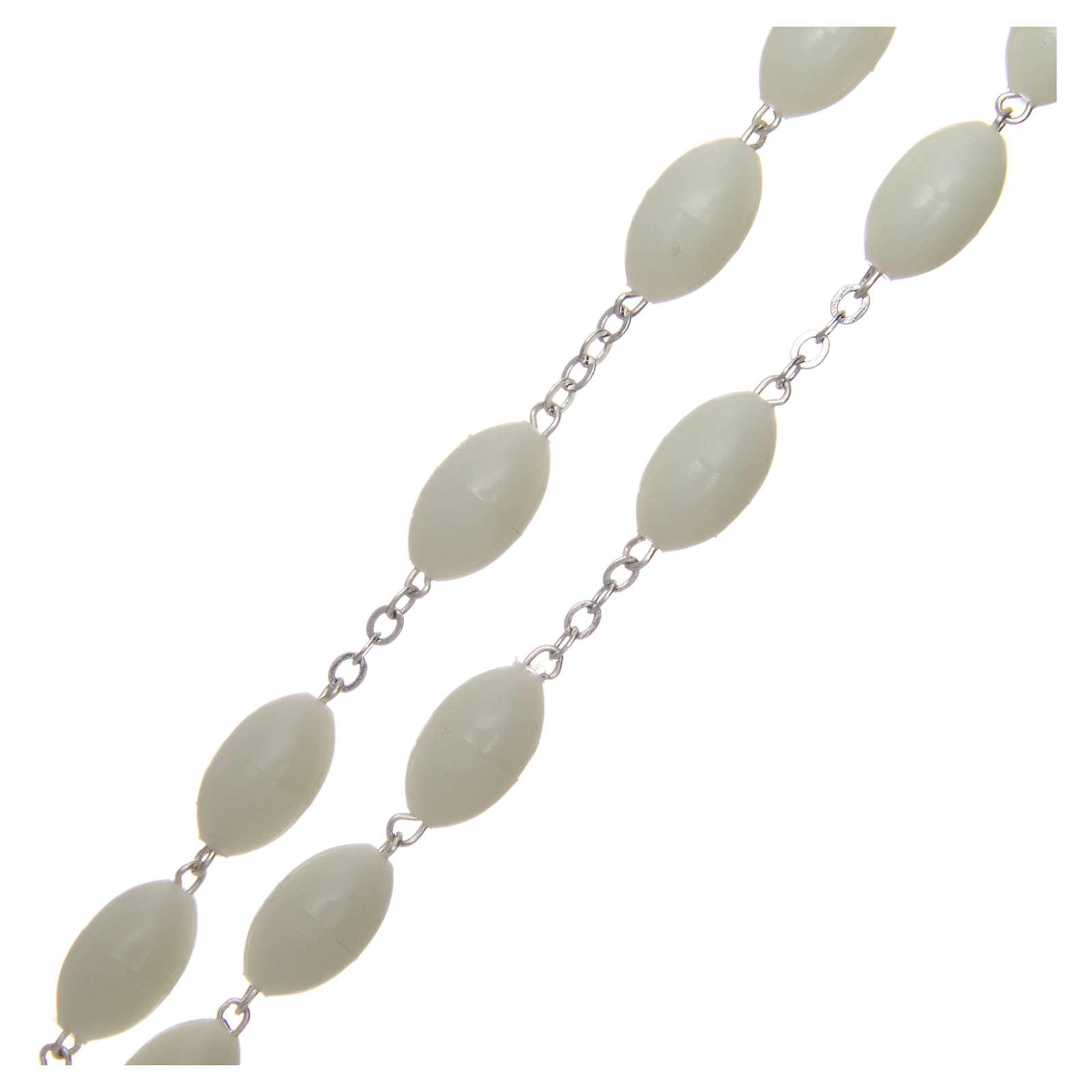 Rosario capoletto in plastica ovale fosforescente 1,5x0,9 mm 4