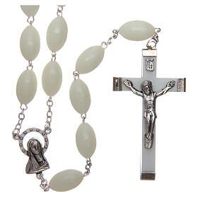 Rosari capoletto: Rosario capoletto in plastica ovale fosforescente 1,5x0,9 mm