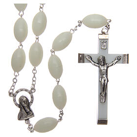 Large wall rosary with plastic phosphorescent oval plastic beads 1,5x0,9 mm s1