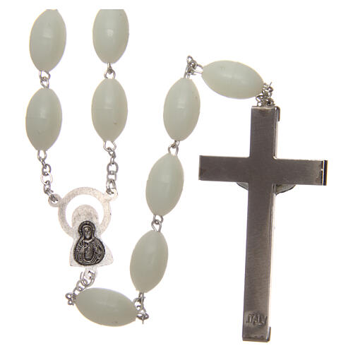 Large wall rosary with plastic phosphorescent oval plastic beads 1,5x0,9 mm 2