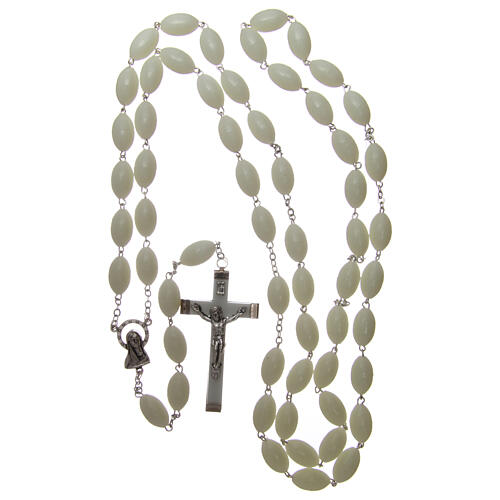 Large wall rosary with plastic phosphorescent oval plastic beads 1,5x0,9 mm 4