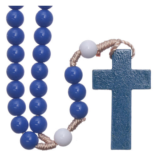 Rosary in blue plastic and white pater with silk setting 7,5 mm 1
