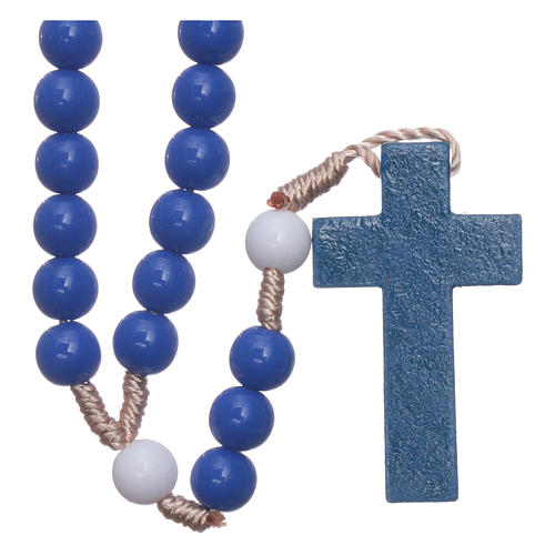 Rosary in blue plastic and white pater with silk setting 7,5 mm 2