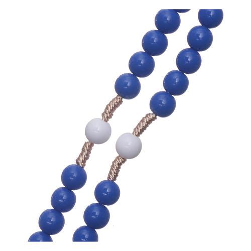 Rosario de plástico granos azul pater blancos ligadura seda 7,5 mm 3