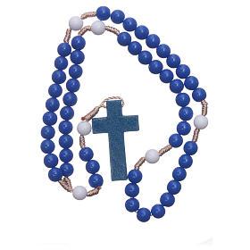 Rosario in plastica grani blu e pater bianchi legatura seta 7,5 mm s4