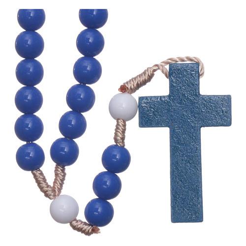 Rosario in plastica grani blu e pater bianchi legatura seta 7,5 mm 2