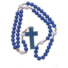 Rosary in blue plastic and white pater with silk setting 7,5 mm s4