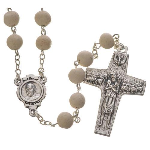 Jasmine perfumed rosary beads, white, Pope Francis 1