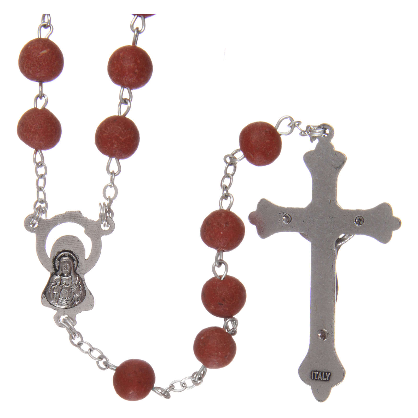 Rosary with rose petal grains 4x5 mm, Saint Therese 4