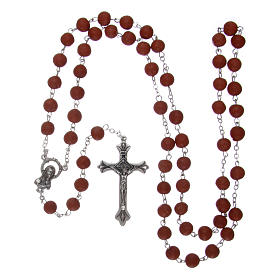 Rosary with rose petal grains 4x5 mm, Saint Therese s4