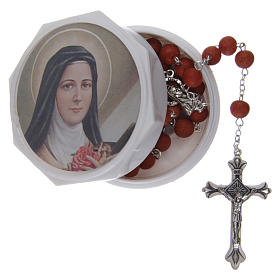 Rosary with rose petal grains 4x5 mm, Saint Therese s5