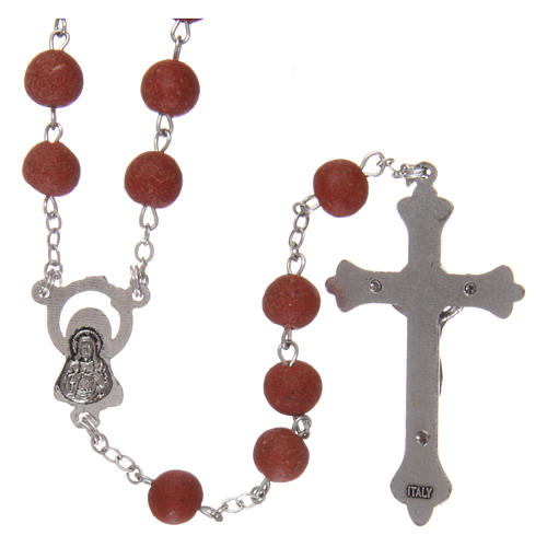 Rosary with rose petal grains 4x5 mm, Saint Therese 2
