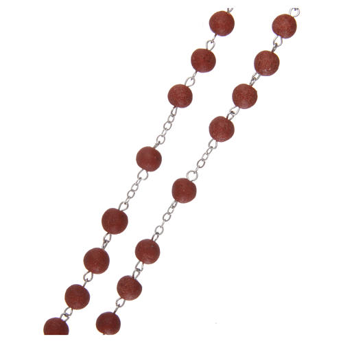 Rosary with rose petal grains 4x5 mm, Saint Therese 3